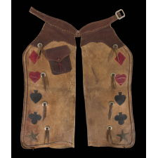 BATWING, LEATHER CHAPS WITH PLAYING CARD SYMBOLS & STARS, POSSIBLY HAMLEY & COMPANY, PENDLETON, OREGON, ca 1915-1930