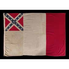 EXTREMELY SCARCE PIECED-AND-SEWN EXAMPLE OF THE CONFEDERATE THIRD NATIONAL FLAG, MADE DURING THE REUNION ERA, CA 1895-1920, WITH UNUSUAL PROPORTIONS THAT RESULT IN INTRIGUING GRAPHICS