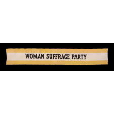 """YELLOW & WHITE SUFFRAGETTE SASH RIBBON, MADE FOR CARRIE CHAPMAN CATT'S """"WOMAN SUFFRAGE PARTY"""" OF NEW YORK CITY, CA 1912-20"""