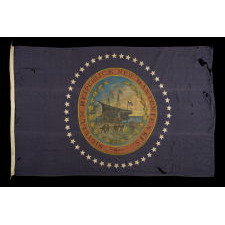 EXCEPTIONAL NEW HAMPSHIRE STATE FLAG WITH A HAND-PAINTED SEAL, SURROUNDED BY 45 HAND-SEWN STARS, MADE BY LAMPRELL & MARBLE, BOSTON, CA 1896-1907