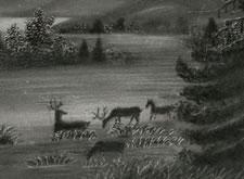 DEER ON AN EVERGREEN LANDSCAPE, CHARCOAL ON SANDPAPER, 1840-50