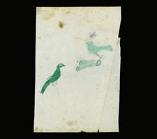 LANCASTER PENNSYLVANIA GERMAN WATERCOLOR OF TWO SMALL GREEN BIRDS, CA 1840-60