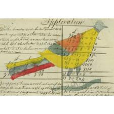 PENNSYLVANIA GERMAN WATERCOLOR OF A COLORFUL BIRD, TAKEN FROM AN 1821 MATHEMATICS COPYBOOK, LANCASTER COUNTY, PENNSYLVANIA