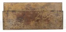 CANTED-FRONT, FLAT-TOP, PENNSYLVANIA GRAIN BIN IN MUSTARD PAINT, CA 1840