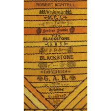 EXCEPTIONAL CIGAR SILK PIECEWORK GAME TABLE COVER, CIRCA 1894-1910