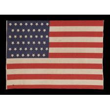 ANTIQUE AMERICAN FLAG WITH 45 UPSIDE-DOWN STARS, 1896-1908, UTAH STATEHOOD, SPANISH-AMERICAN WAR ERA