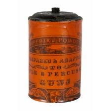 """IMPERIAL POWDER"" GUNPOWDER TIN, EUREKA POWDER COMPANY, DURHAM, NEW HAMPSHIRE, CA 1853-70"
